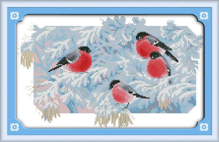 Four Birds in Cold Morning