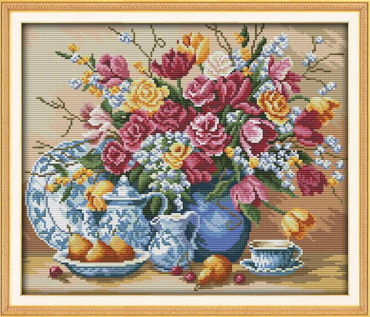Plates of Fruit and Flowers