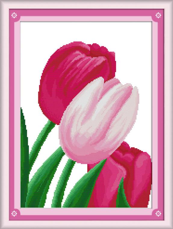 Cross Stitch Kits - Pink Tulip