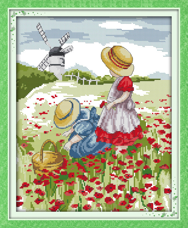 Cross Stitch Kits - Two Girls in Poppy Field