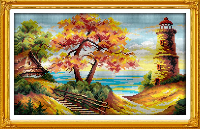 Cross Stitch Kits - Autumn Beach Lighthouse