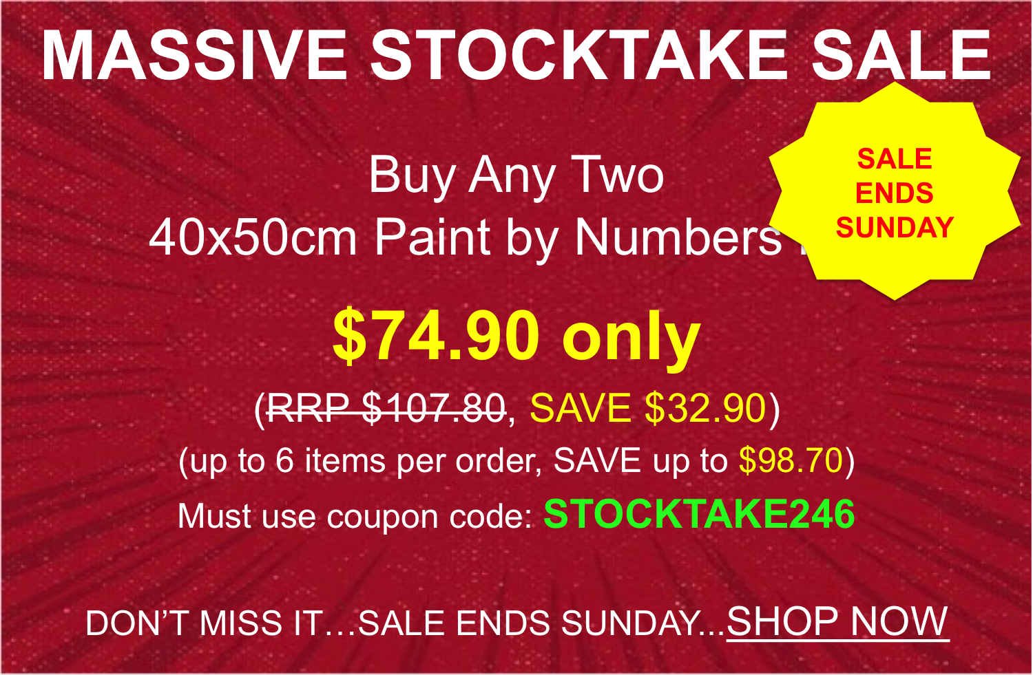 Paint by Numbers - Massive Stocktake Saving
