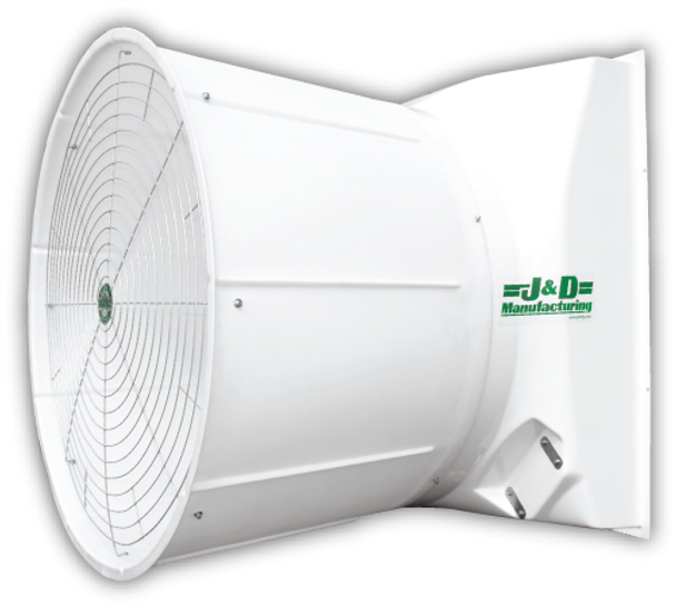 "J&D STORM - 55"" Fiberglass Exhaust Fan - 30,000 CFM @ .05"" SP - 3 Phase BD 230/460V 2HP 3PH 3 Blade Cast Aluminum, Aluminum Shutter, Energy Efficient."