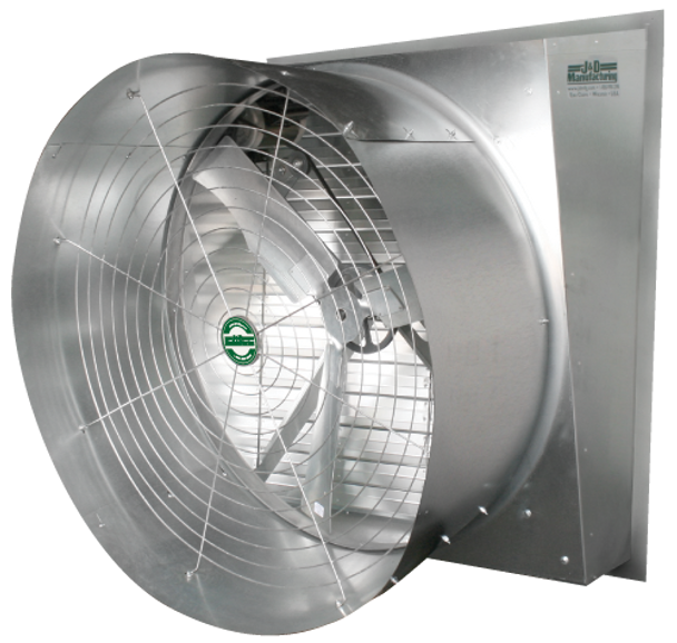 A4 Jd Typhoon 50 42 36 30 24 Slant Wall Exhaust Fan Up To 23400 Cfm Single Phase 115230v 3 Phase 208230460v 3 Blade Cast Alum
