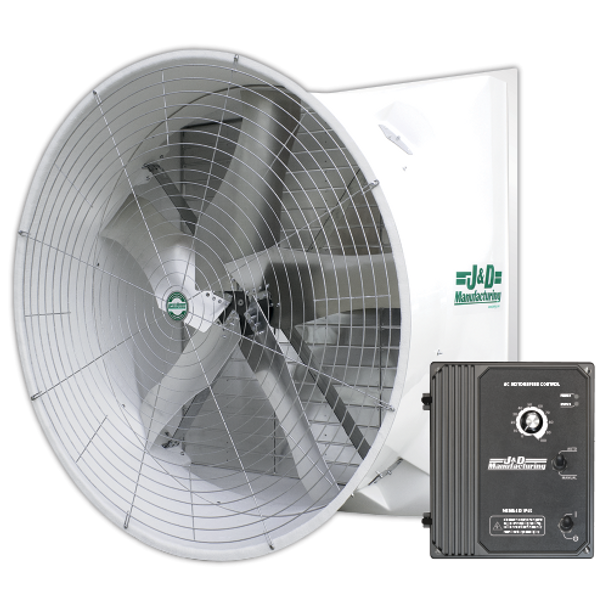 "J&D's 72"" Mega Torque fan with VFD boasts some of the best performance on the market today for a fan of this size! 45,355 CFM at 0.05"" static pressure plus no belts, no pulleys, no tensioners.  Contact us today. Features  • Save Time & Money  No Belts to Change No Pulleys to Maintain No Lubricating Bearings No Greasing Motor • Maintains a continuous high level of performance with no power loss or reduction from aging belts and pulleys  • FANtastic performance combined with great efficiency"