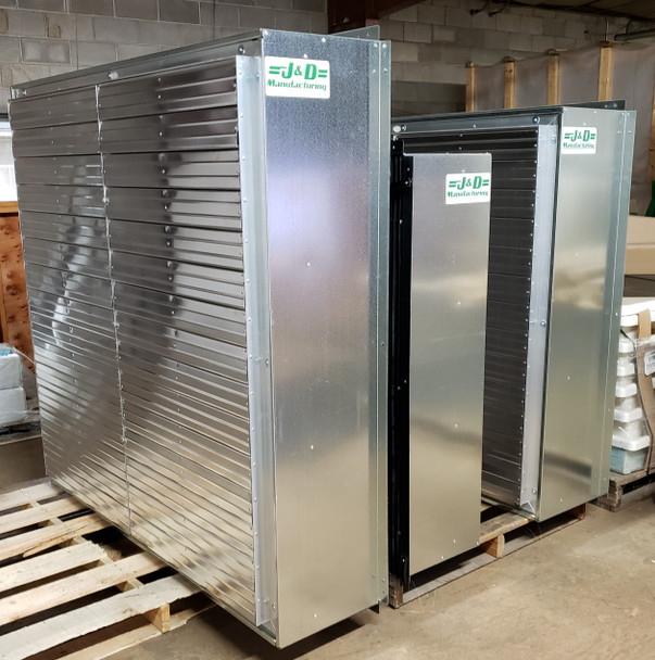 """J&D Power Intake Shutters with Light Traps  60"""", 54"""" & 48"""" Shown in picture"""