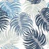 "GP1900143 Solid Large Blue Leaves on White Premium Peel and Stick Wallpaper Panel 6 Ft High x 26"" Wide"