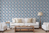 """GP1900131  Blue and Pink Palm Silhouettes on White Premium Peel and Stick Wallpaper Panel 6 Ft High x 26"""" Wide"""