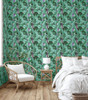 GW2101 Painted Banana Leaves Peel and Stick Wallpaper Roll 20.5 inch Wide x 18 ft. Long, Green/Purple