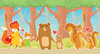 GB90081 Woodland Families Peel and Stick Wallpaper Border 10in Height x 18ft Multicolor