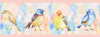 GB90071 Watercolor Birds Peel and Stick Wallpaper Border 10in Height x 18ft Multicolor