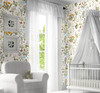 GP5031P6 Grace & Gardenia  Wildflowers and Butterflies Premium Textured Paper Peel and Stick Wallpaper Panel Cream / Green / Blue / Pink 26 In W x 6 Ft High