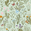 GP5032PS Grace & Gardenia  Wildflowers and Butterflies Premium Textured Paper Peel and Stick Wallpaper Panel SAMPLE  Green / Blue / Pink