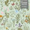 GP5032P6 Grace & Gardenia  Wildflowers and Butterflies Premium Textured Paper Peel and Stick Wallpaper Panel Green / Blue / Pink 26 In W x 6 Ft High