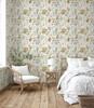 GP5031PS Grace & Gardenia  Wildflowers and Butterflies Premium Textured Paper Peel and Stick Wallpaper Panel SAMPLE Cream / Green / Blue / Pink