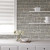 NuWallpaper by Brewster NU2236 Grey Brick Facade Peel & Stick Wallpaper