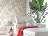 York AT7050 Tropics Bali Leaves Wallpaper white, light to dark green, yellow, tan