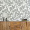 "GYX1064 - Grace & Gardenia Tropical Areca Palm Leaves Gray Metallic on White Peel and Stick Wallpaper 27"" x 20'"