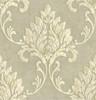 GW1012  Grace & Gardenia Cream & Pale Gold Damask Peel & Stick Wallpaper