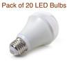 Pack of 20 Classic A19 / E26 LED Bulb 9 Watt 800 Lumen 3000K Warm White