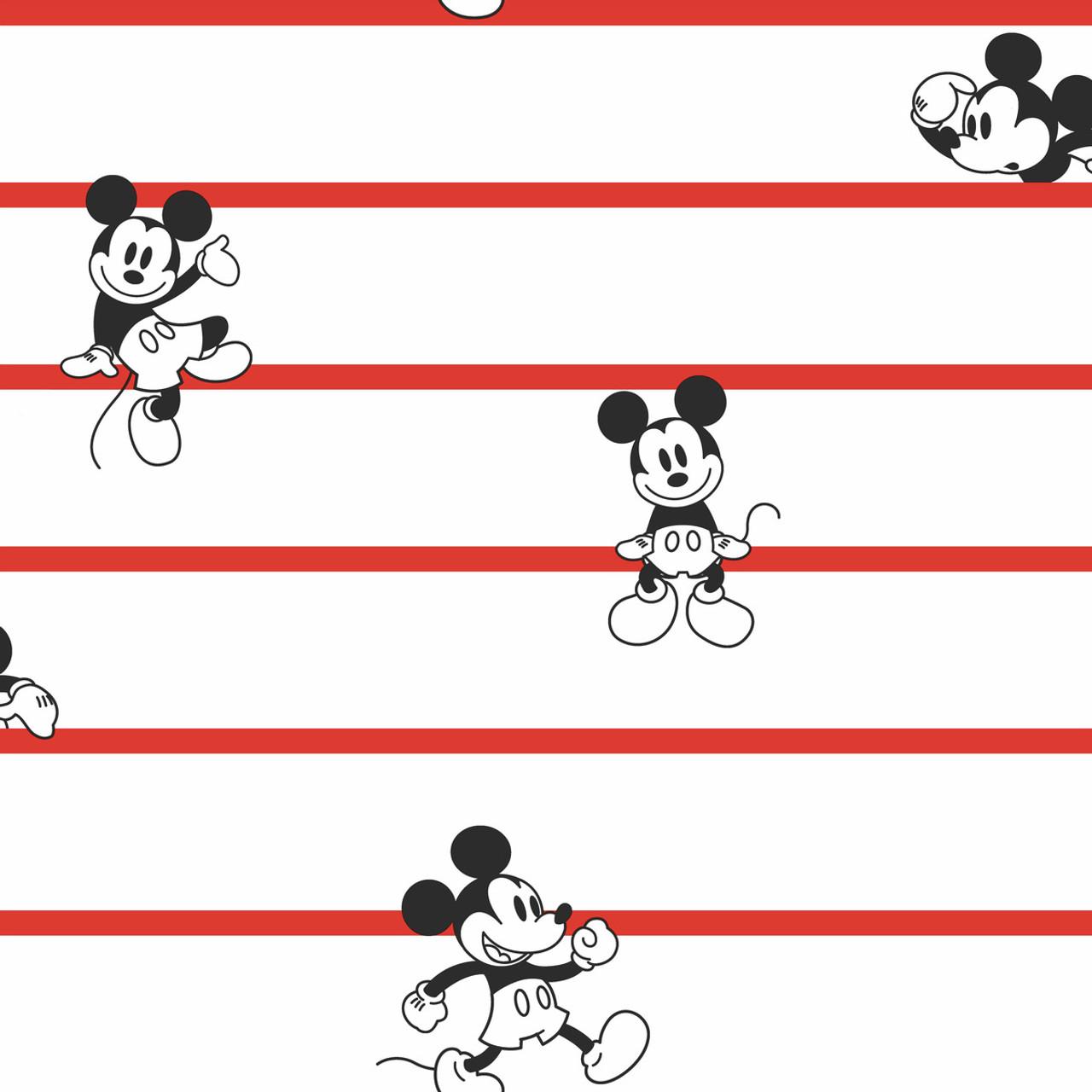 York Wallcoverings DI0932 Disney Mickey Mouse Stripe Wallpaper Black//White//Cream