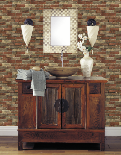 Brick Wallpapers by Grace & Gardenia: Classic Red, Clean, Vintage Rustic .
