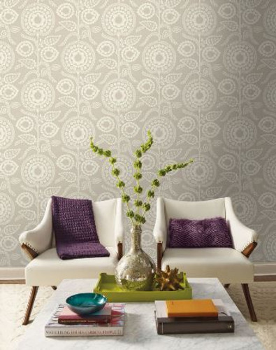 NEW! York Wallcoverings Silouhettes Collection. Luxor and Pomegranate Bloom Wallpapers