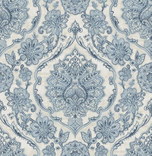 Chesapeake by Brewster 3114-003319 Manhattan Club Carnegie Blue Damask Wallpaper