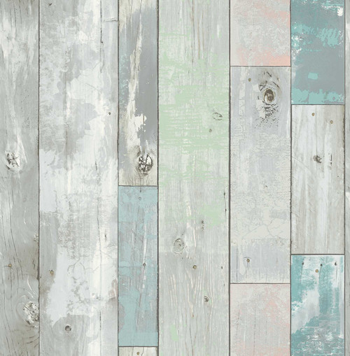 A-Street Prints by Brewster 2540-24016 Restored Deena Turquoise Distressed Wood Wallpaper
