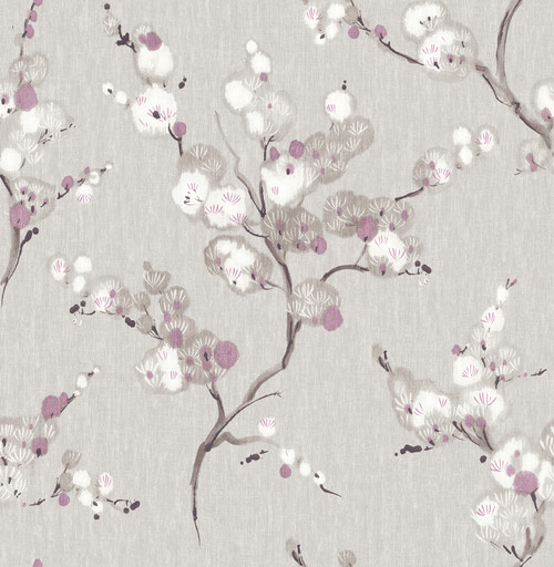 A-Street Prints by Brewster 2764-24309 Mistral Bliss Purple Blossom Wallpaper