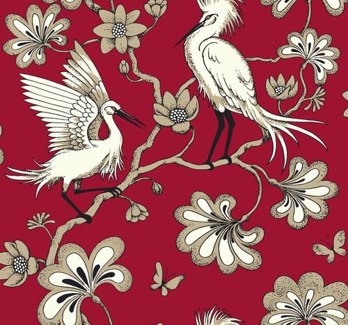 York Wallcoverings FB1453 Florence Broadhurst Egrets Wallpaper Red
