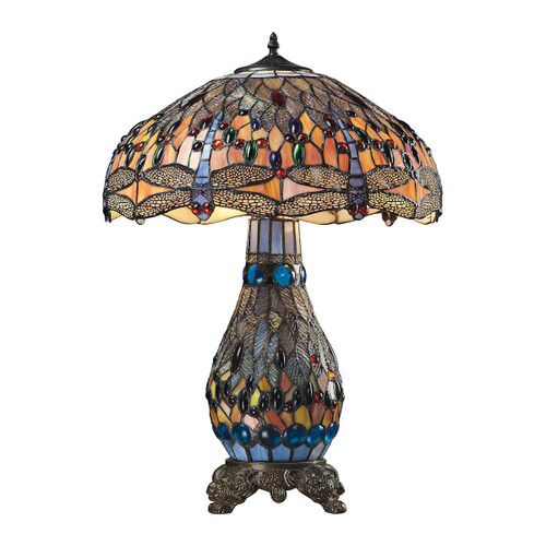 Dimond lighting 72079-3 Dragonfly Tiffany Glass Table Lamp in Tiffany Bronze Tiffany Bronze