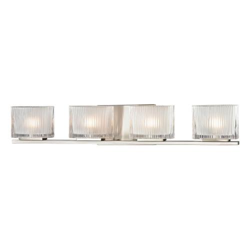 Chiseled Glass 4 Light Vanity In Brushed Nickel by Elk 11633/4