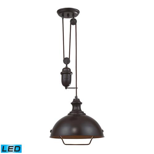 Farmhouse 1 Light Adjustable LED Pendant In Oiled Bronze by Elk 65071-1-LED