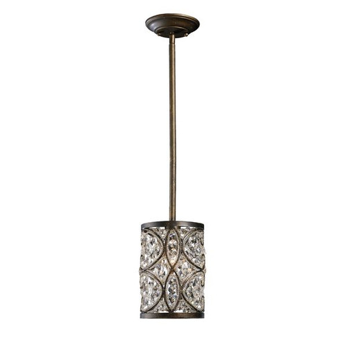 Amherst 1 Light Pendant In Antique Bronze and Clear Crystal by ELK 11285/1