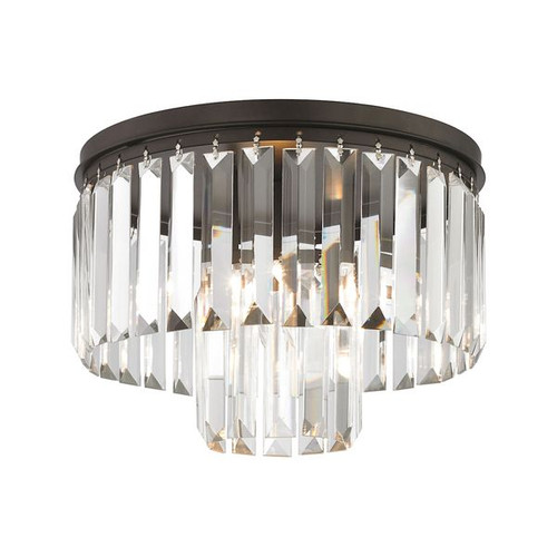 Palacial 1 Light Semi Flush In Oil Rubbed Bronze with Clear Crystal ELK 15223/1