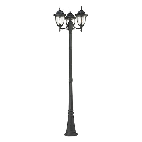Central Square 3 Light Outdoor Post Lamp In Textured Matte Black by Elk 45089/3