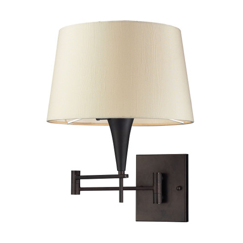 Swingarms 1 Light Sconce In Aged Bronze With Beige Shade by Elk 10292/1