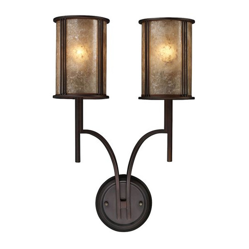 Barringer 2 Light Wall Sconce In Aged Bronze And Tan Mica Shade by ELK 15030/2