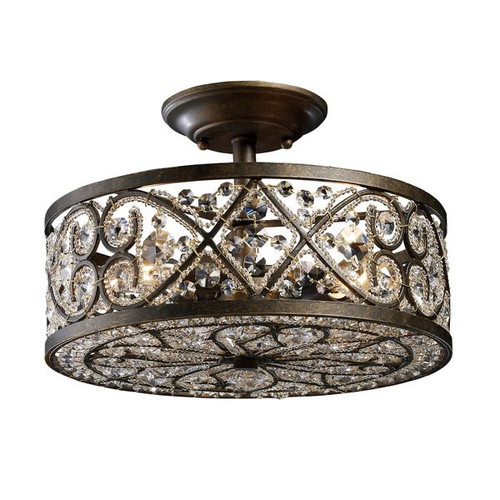 Amherst 4 Light Semi Flush In Antique Bronze and Clear Crystal by ELK 11286/4