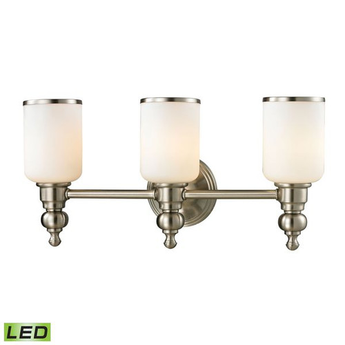 Bristol Way 3 Light LED Vanity In Brushed Nickel And White Glass ELK 11582/3-LED
