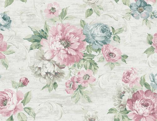 Wispy Flowers Wallpaper in Pastel VA10102 from Wallquest