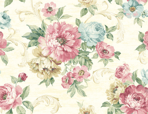 Wispy Flowers Wallpaper in Primary VA10103 from Wallquest