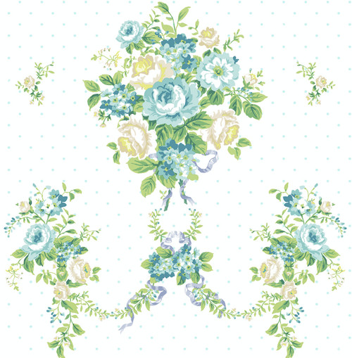 Nosegay Wallpaper in Teal HC80414 from Wallquest