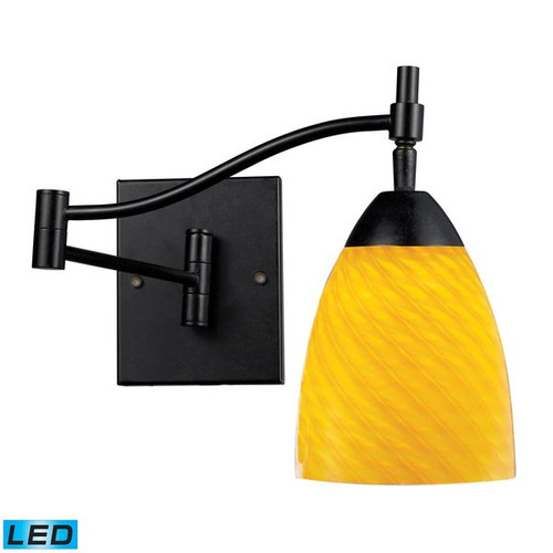 Celina 1 Light LED Swingarm Sconce In Dark Rust And Canary ELK 10151/1DR-CN-LED