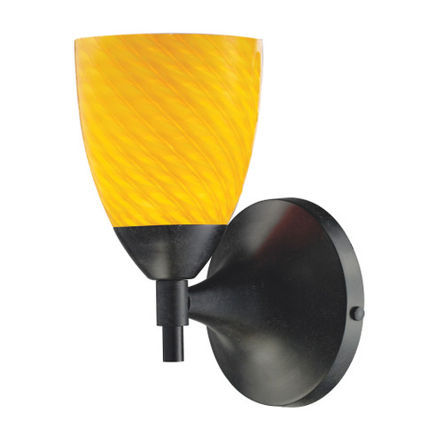 Celina 1 Light Sconce In Dark Rust And Canary Glass by Elk 10150/1DR-CN