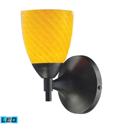 Celina 1 Light LED Sconce In Dark Rust And Canary Glass by Elk 10150/1DR-CN-LED