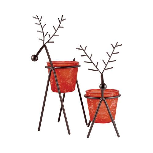 Elk 519192 Pomeroy Reindeer Set Of 2 Large Lighting Red Tierra