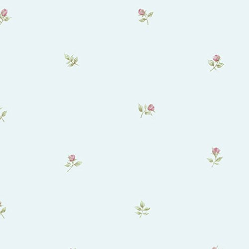 Cavalier Wall Liner RG35718 Rose Buds Wallpaper Blue, Pink, Green