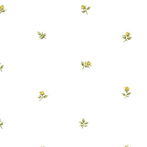 Norwall Rose Garden 2 RG35721 Rose Buds Wallpaper Yellow Green